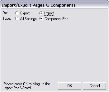 Select Import and Component Pac